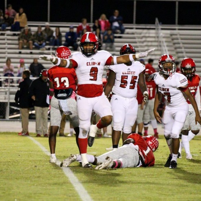 Clinch County's Dillil Carter (9) reacts after making a sack Friday against Atkinson County.